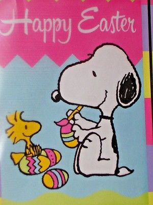 Peanuts HAPPY EASTER Small Flag Snoopy and Woodstock Painting Eggs!