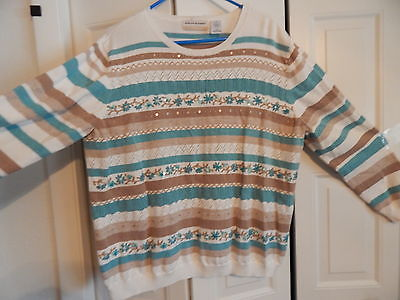 Alfred Dunner Sweater 2X Ladies Embellished Fits like XL or 1X Nice!