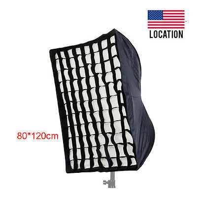 Umbrella Softbox with Grid For SpeedLight/Flash 80x120cm/32in x 47in US Location