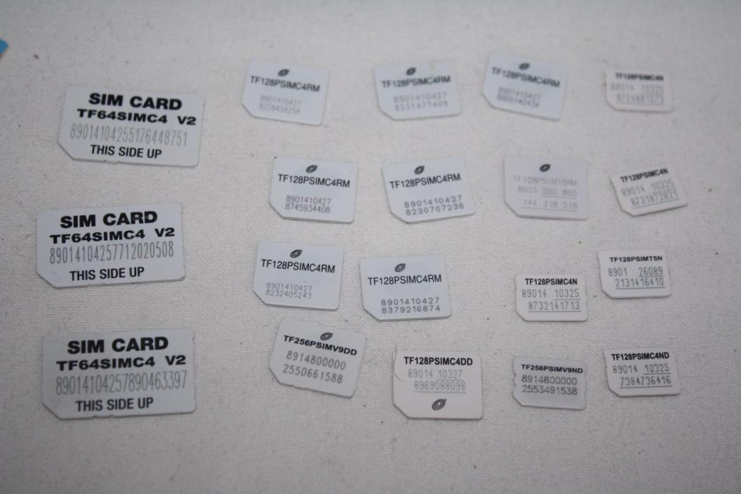UNKNOWN PROVIDER - SIM Cards,3 SIM, 10 Micro, 6 NANO( could be Trac, ST, net)