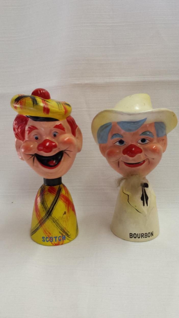 VINTAGE BOBBLEHEAD BOTTLE STOPPER Bourbon & Scotch Set St Pierre &Patterson 1961