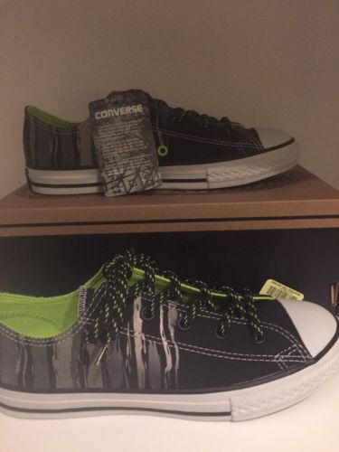 CONVERSE CHUCK TAYLOR CTAS OX BLACK BOLD LIME SNEAKERS SHOES Kids Youth size 4
