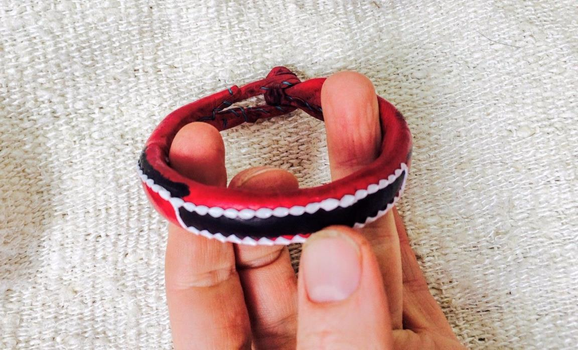 Red Leather Nigerian Bracelet.  African