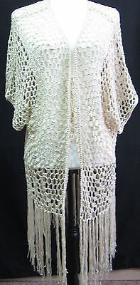 POL New With Tags Size 3X Open Weave Crochet Beige Shawl/Top
