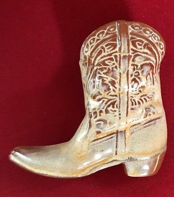 Frankoma Pottery Cowboy Cowgirl Mini Boot Desert Gold Vintage #134 Western