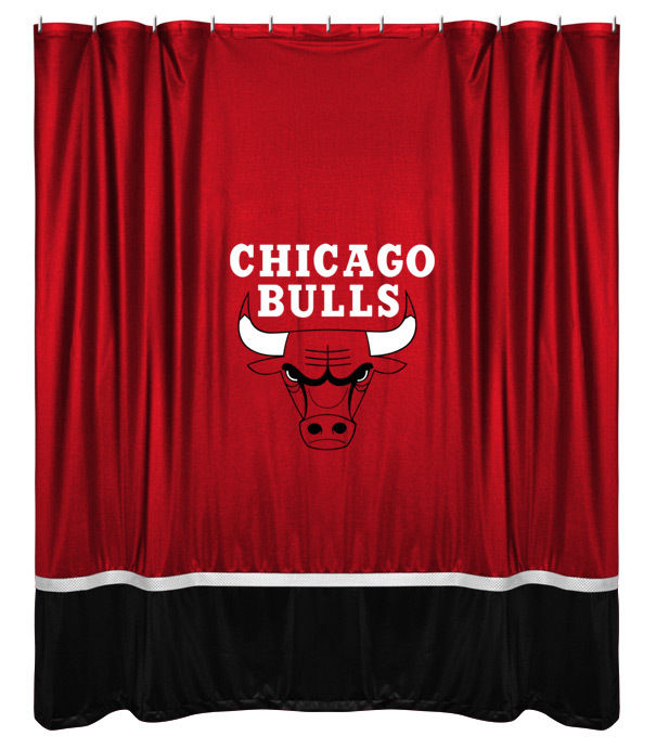 Chicago Bulls NBA Sports Coverage Team Color Shower Curtain Sidelines