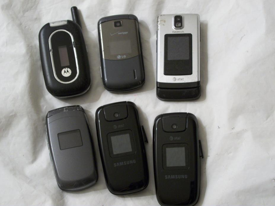 Lot Of 6 Used Flip Phones~ Motorola, LG, Nokia, Samsung~ AT&T Cricket Verizon `