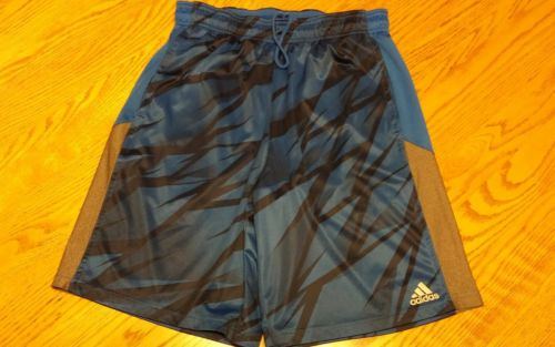 Boys adidas shorts medium blue black gray draw string pockets excellen condition