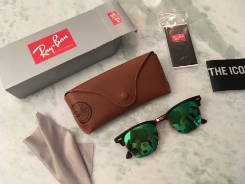 100% Authentic Ray-Ban Mirror/Flash Clubmaster - Green Sunglasses