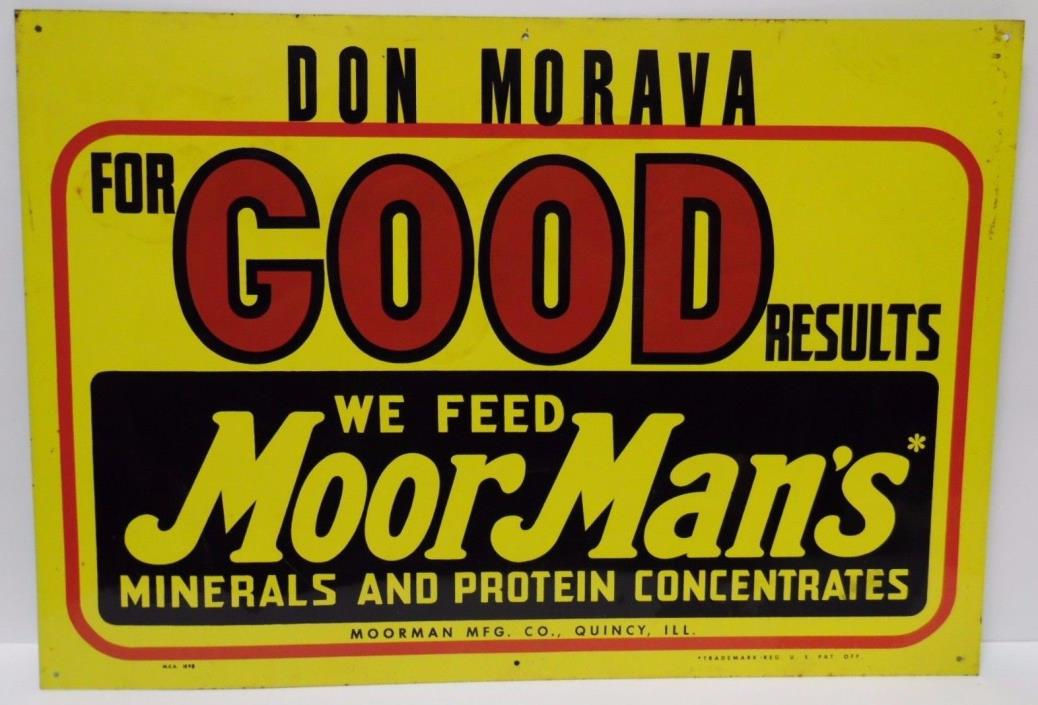 Vtg 1960s MoorMan's Feed Cow Pig Chicken Farm Advertising Metal Sign QUINCY IL