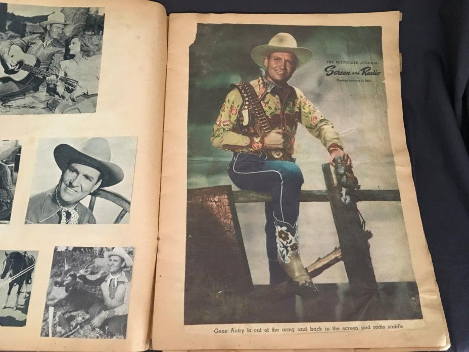 Vintage GENE AUTRY Scrapbook old Pictures Posters Clippings 50 Pages Circa 1947