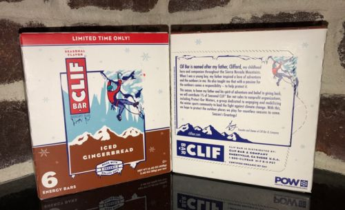 Clif Bar Seasonal ICED GINGERBREAD 2 Boxes of 6 (2.4oz per bar) Total 12 Bars