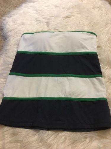 Anne Cole Signature Blue Green Stripe Strapless Tankini Built in Bra Sz Small