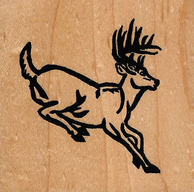 NEW mounted rubber stamp   Deer Jumping small  wood mount 1 1/2