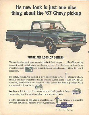 1967 Chevy Pickup Truck Classic Vintage Automobile Advertisement Original