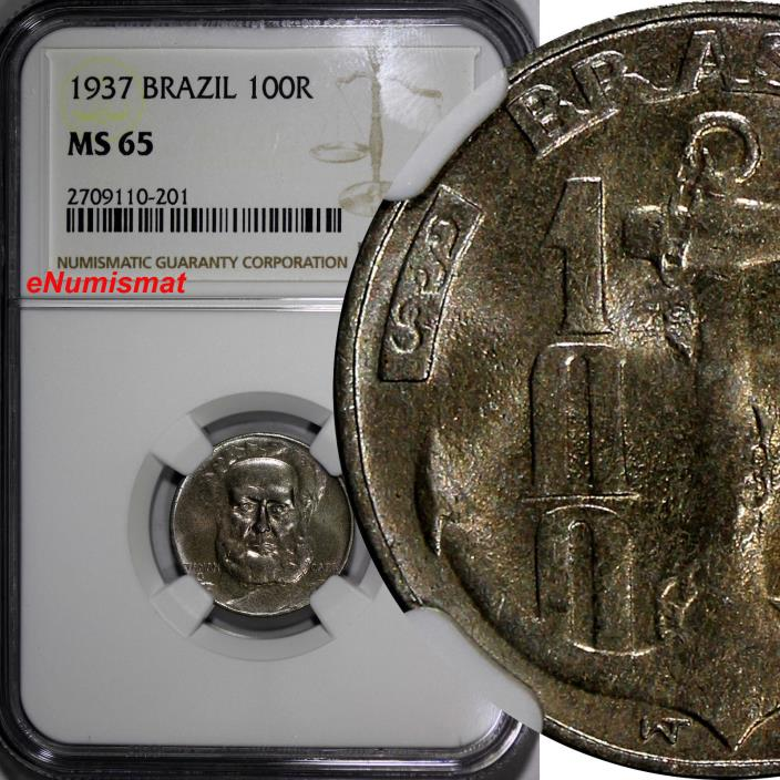 Brazil 1937 100 Reis NGC MS65 TONED Admiral Marques Tamandare KM# 536