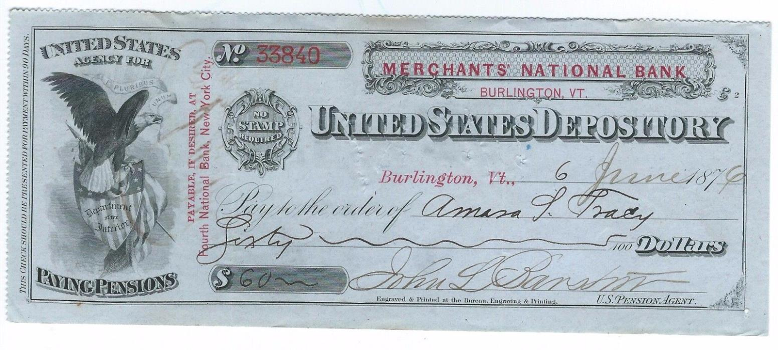 Civil War pension check signed by Medal of Honor recipient Amasa S.Tracy -2nd VT