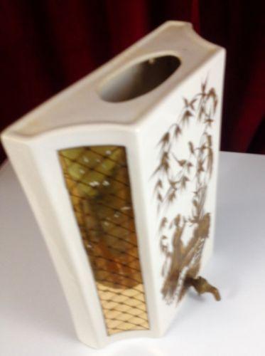 WATER Reservoir Floral Vase Wall Pocket Ceramic Asian Themed White Gold W Spigot