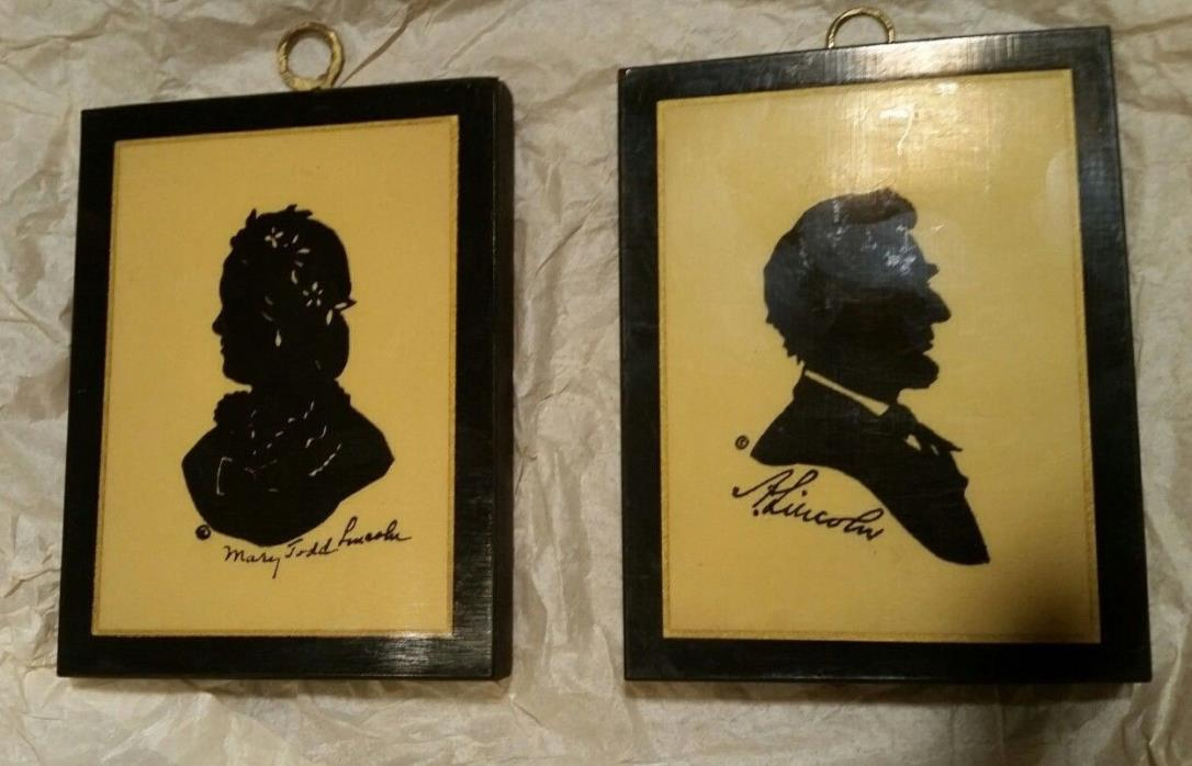 (2) Vintage Wood Wall Hangings Abe Lincoln + Wife Pyraglass Products 3.5x4.5