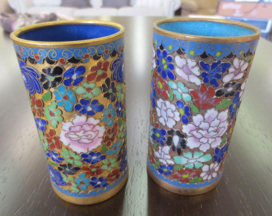Antique Vintage Millefleur Flower Gold Open Cloisonne Brush Pot Pair