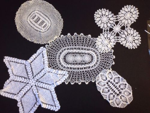 Vintage Crocheted Doilies Variety White Square Oval Star Shaped