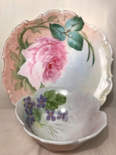 LIMOGES HAND PAINTED ROSES BOWL & PLATE **signed**