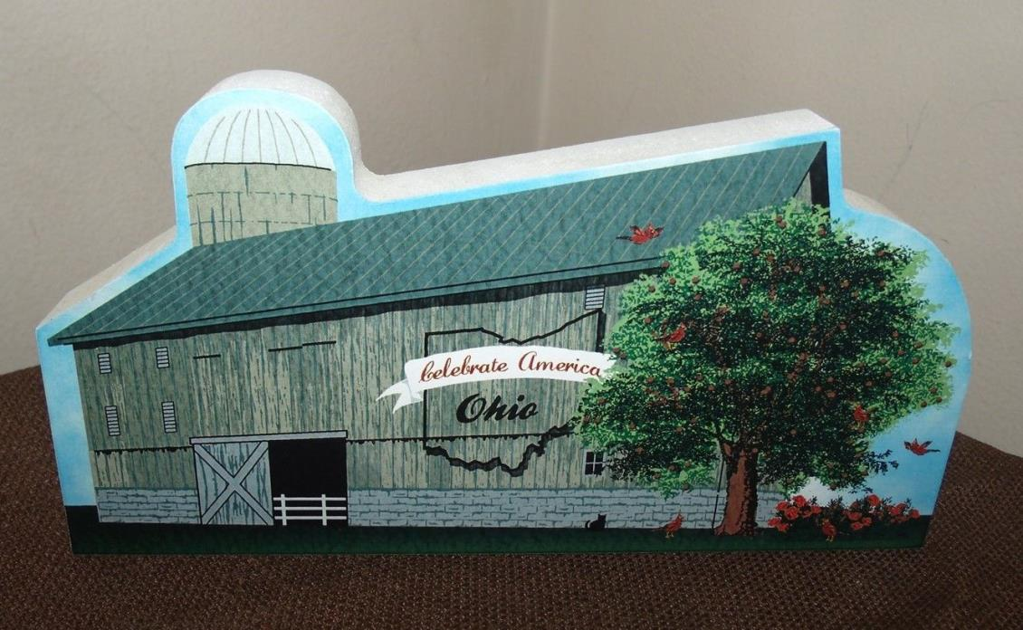 Cat's Meow Ohio State Barn Celebrate America Painted Wooden Shelf Sitter Faline