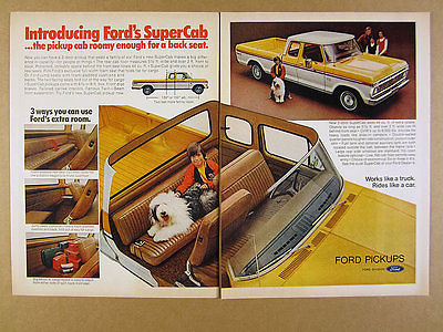 1974 Ford F250 SuperCab Pickup Truck boy & sheepdog photo vintage print Ad