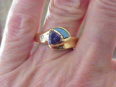 SOUTHWESTERN 18K SOLID GOLD OPAL INLAY & DIAMOND & IOLITE RING SZ 5 3/4