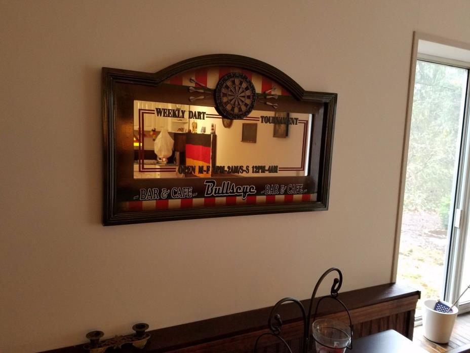 Bulls Eye Framed Mirror Style Man Cave Game Room Sign Art Bar
