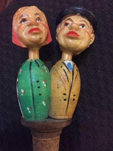 ANTIQUE Vintage ANRI Carved Wood MECHANICAL KISSING Wine Cork BOTTLE STOPPER