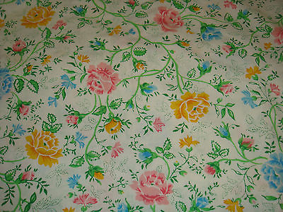 Vintage JCPENNY roses Flowers QUEEN FLAT bed sheet