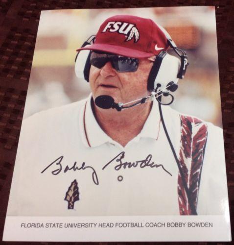 BOBBY BOWDEN Signed Autographed FSU FLORIDA STATE SEMINOLES Photo