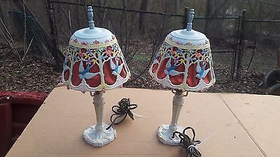 Pair of Antique Painted Cast Iron Bouduir Lamps Red Fabric Liner