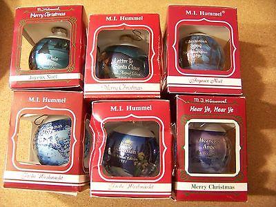 Six M.J. Hummel Christmas ornaments years 1983 1984 1989 1992 1993 1994 Xmas