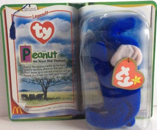Beanie Babies Peanut The Royal Blue Elephant New In Box
