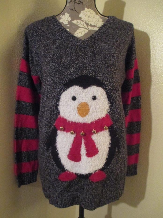 Christmas Penguin Striped Hooded Sweater Derek Heart Maternity Large
