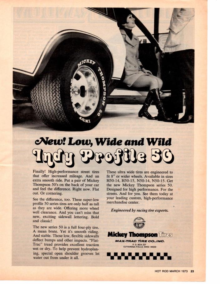 1973 MICKEY THOMPSON INDY PROFILE 50 TIRES ~ ORIGINAL PRINT AD