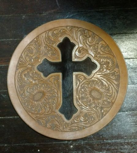 Cross wall hanging - horsehair - western - leather
