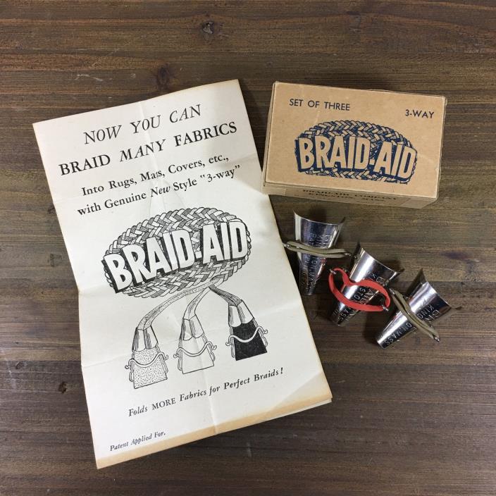 Vintage Set of 3 Braid-Aid 3-Way Original Box & Instructions