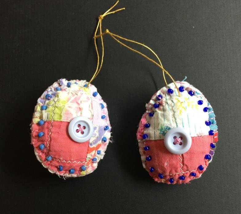 Set of 2 Padded Easter Egg Handmade Ornament Repurposed Quilt blue beads