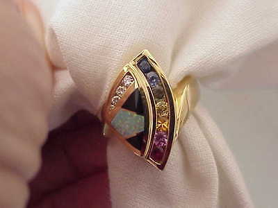 SOUTHWESTERN 18K SOLID GOLD OPAL & ONYX INLAY & SAPPHIRES & DIAMOND RING SZ 8