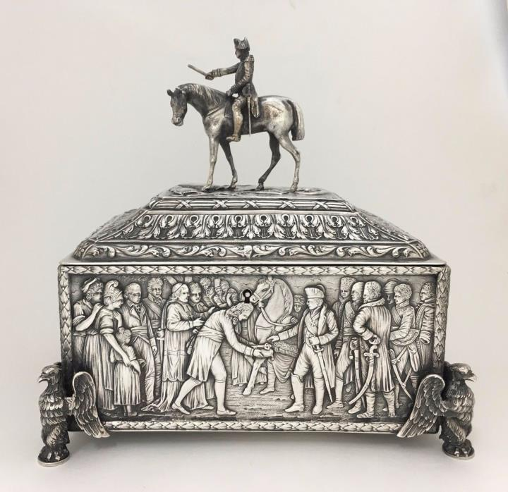 Important 19th C Antique French Colonial Silver Napoleonic Box / Casket Napoleon