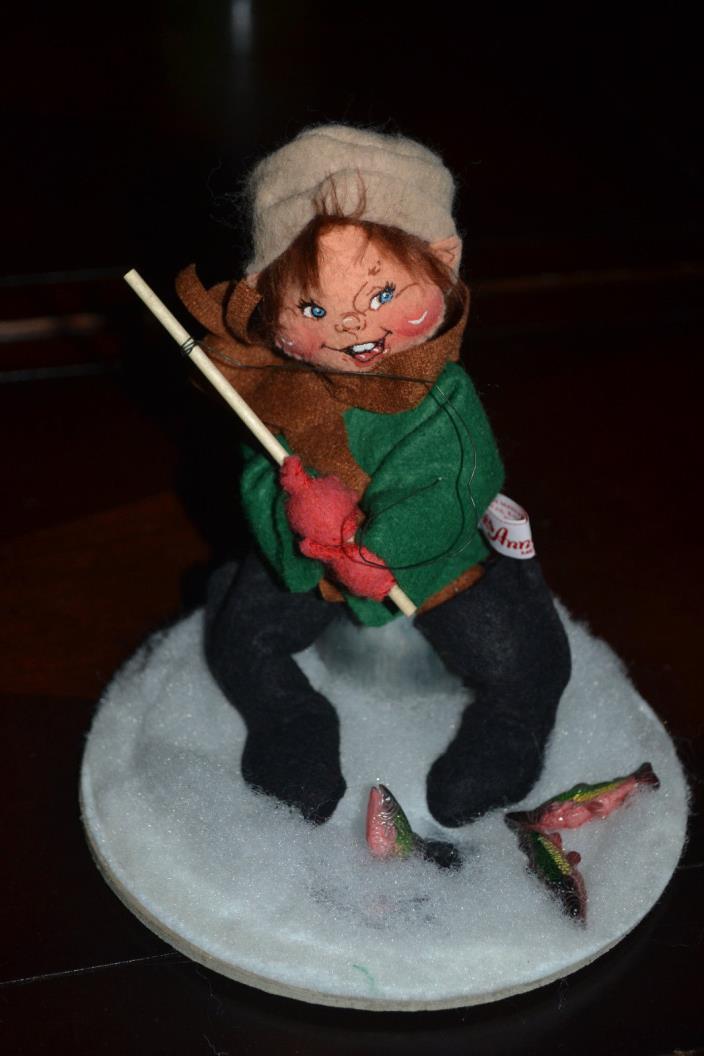Annalee Dolls Fisherman 1997 Ice Fishing Fish Pole