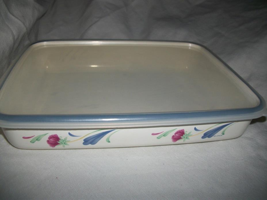 Lenox Poppies on Blue Metal Enamel Bakeware Plastic Lid 8x10 baking pan HTF EUC