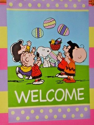 Welcome Large Easter Spring Flag with Snoopy and His Peanuts Friends