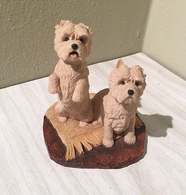 Pair of West Highland terrier dog figurines from Border Fine Arts of Scotland