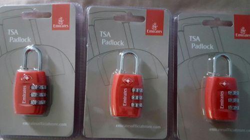 Emirates TSA Padlocks - 3 red locks