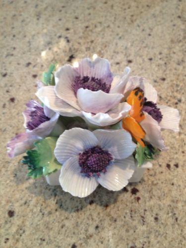 Antique Mint Crown Staffordshire Porcelain Butterflies Flowers in Basket