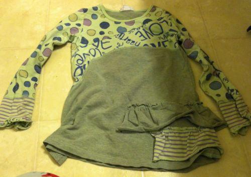 NAARTJIE Kitty Line GRAY /PALE GREEN Love Shirt Girls Size 6 GUC